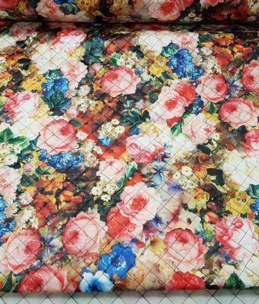 Dygsniuotas vienpusis striukinis audinys Gėlės