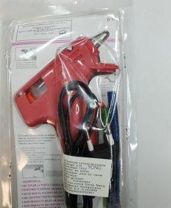 Raudonas karštų klijų šautuvas + 7mm spalvotos blizgios lazdelės 3 vnt.