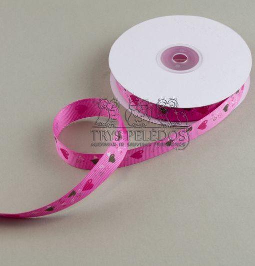 Grosgrain juostelė 15mm,rožinė su širdelėm