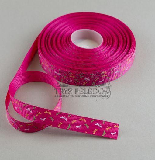 Grosgrain juostelė 15mm,ryškiai rožinė su laumžirgiais