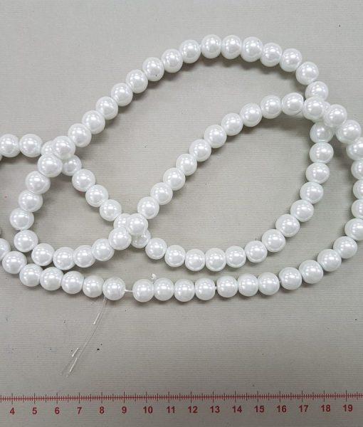 Stikliniai perlai, 10 mm, balti