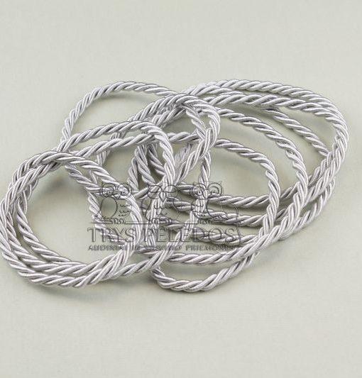 Dekoratyvinė virvelė 4mm,sidabro spalvos