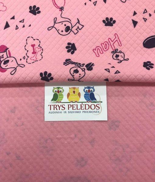 Dygsniuota medžiaga rožiniai rombai Šuniukai