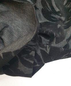 Punto trikotažas Juodi veliūro ornamentai
