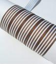 Grosgrain juostelė 16 mm, Dryžuota balta/ruda