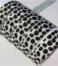Grosgrain juostelė 16 mm, balta su juodom dėmėm