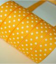 Grosgrain juostelė 16 mm, Geltona su baltais taškais