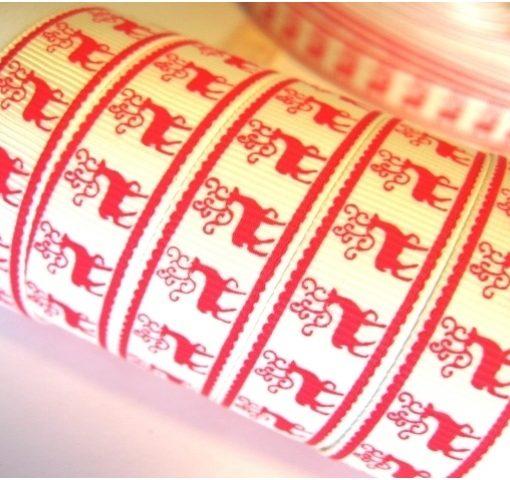 Grosgrain juostelė 16 mm, kreminė su raudonais briedžiais
