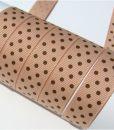 Grosgrain juostelė 16 mm, kakavinė su rudais taškiukais