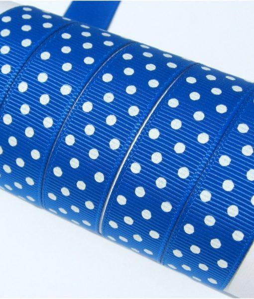 Grosgrain juostelė 16 mm, mėlyna su baltais taškiukais