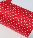 Grosgrain juostelė 16 mm, raudona Hot Red su baltais taškiukais