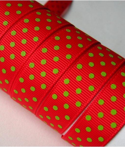 Grosgrain juostelė, 16 mm, raudona Hot Red su žaliais Apple Green taškeliais