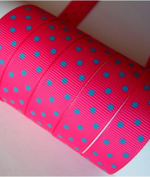 Grosgrain juostelė 16 mm, ryšiai rožinė su turkio taškiukais