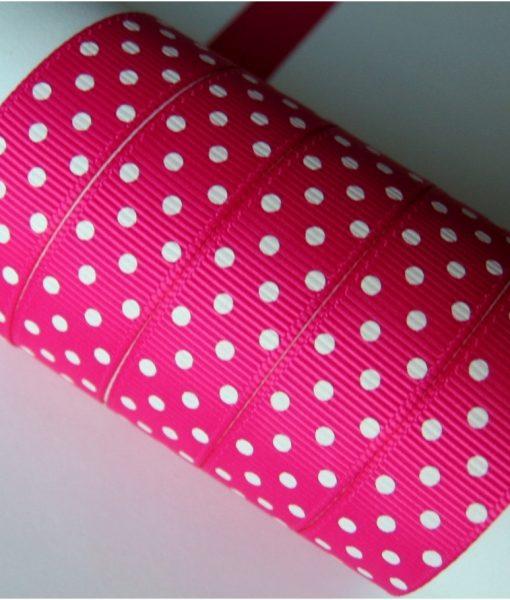 Grosgrain juostelė 16 mm, ryškiai rožinė su baltais taškiukais