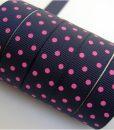 Grosgrain juostelė 16 mm, tamsiai mėlyna su rožiniais taškiukais