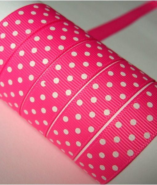 Grosgrain juostelė 16 mm, Rožinė su baltais taškais