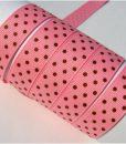 Grosgrain juostelė 16 mm, Rožinė su rudais taškais