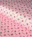 Medvilninis audinys, rožinis su mažom rožytėm