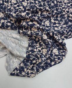 Viskozinis trikotažas Tamsiai mėlynas / Šviesiai rožinis Gėlėtas