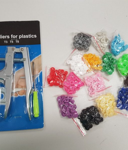 Rankinis presas plastikinėms spaudėms įspausti + 150 spaudžių