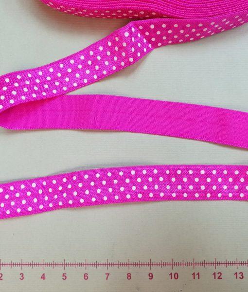 Elastinė taškuota kantavimo juostelė 15 mm, ryškiai rožinė