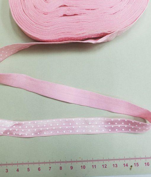 Elastinė taškuota kantavimo juostelė 15 mm, šviesiai rožinė