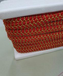 Dekoratyvinė juostelė Raudona su auksiniu
