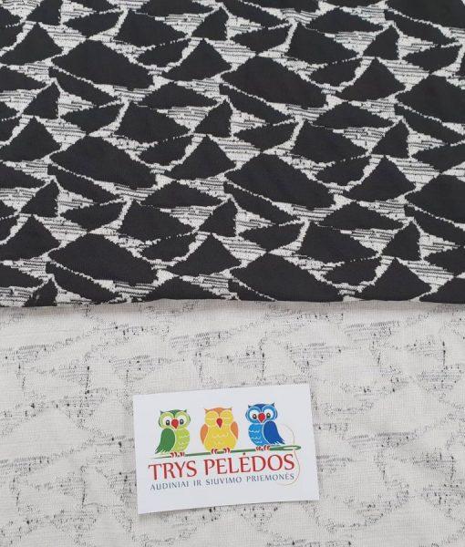 Megztas medvilninis trikotažas Juoda mozaika