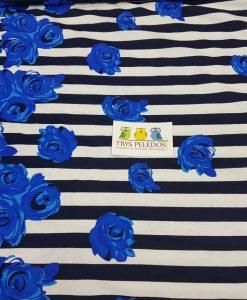 Plona medvilnė Mėlynos rožės