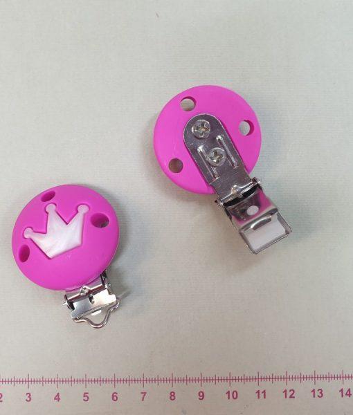 Silikoninis apvalus laikiklio segtukas Ryškiai rožinis Karūna