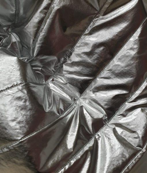 Dygsniuotas vienpusis striukinis audinys Sidabrinis metalic