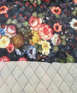 Dygsniuotas vienpusis striukinis audinys Tamsus gėlėtas