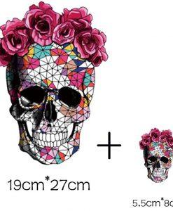 Termoaplikacija Kaukolė su gėlėmis, didelė + maža