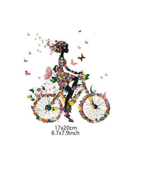Termoaplikacija Mergina ant dviračio, didelė