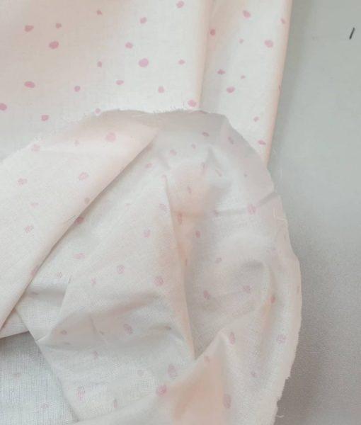 Medvilninis audinys, drobelė Rožiniai taškeliai