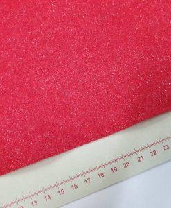 Blizgantis dirbtinio veltinio (filco) lakštas, raudonas
