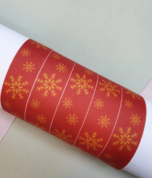 Grosgrain juostelė 16 mm, Kalėdinės snaigės