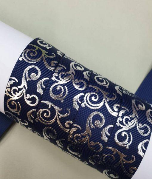 Grosgrain juostelė 22 mm, Mėlyni metalizuoti ornamentai
