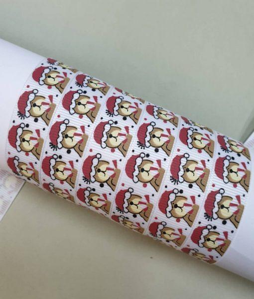 Grosgrain juostelė 16 mm, Kalėdinis meškiukas