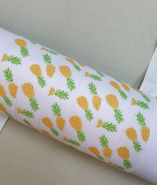 Grosgrain juostelė 16 mm, Ananasai
