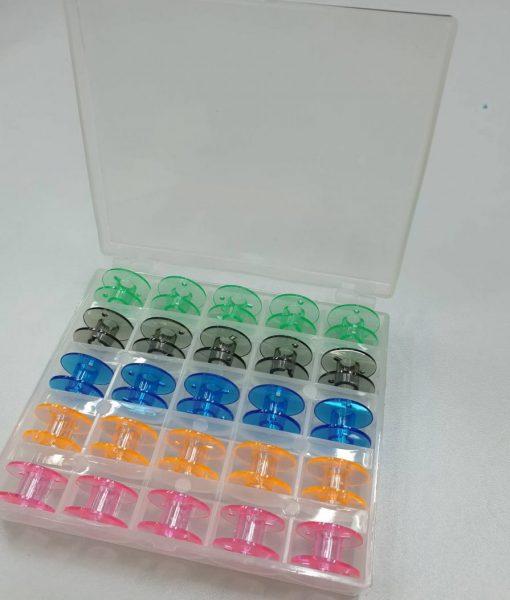 Plastikinių ritelių buitinei siuvimo mašinai rinkinys 25 vnt. + dėžutė