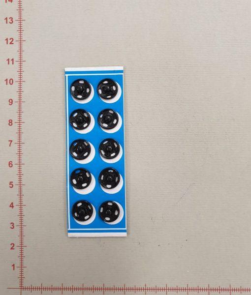 Prisiuvamos metalinės spaudės juodos spalvos, 10 mm