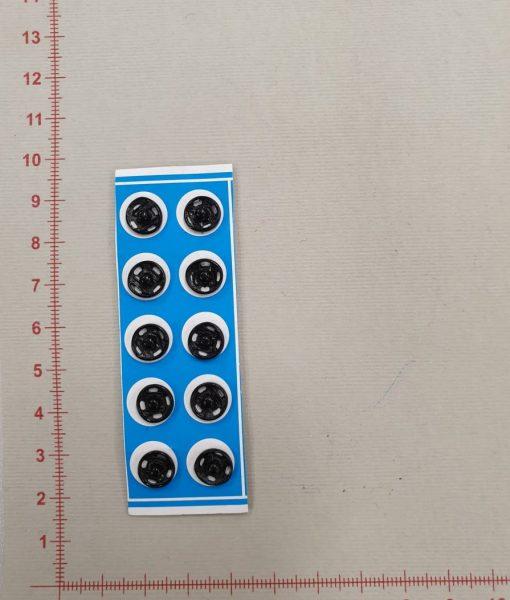 Prisiuvamos metalinės spaudės juodos spalvos, 8 mm