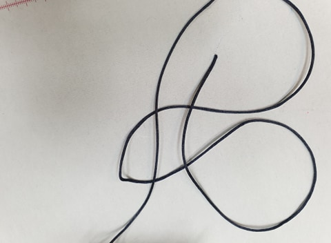 Satino virvelė Juoda, 1,5 mm