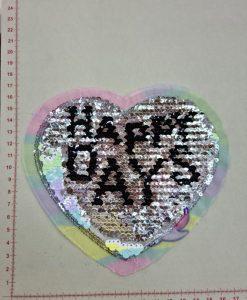 Prisiuvama aplikacija Vienaragis širdelėje, didelė (vartomi žvyneliai)