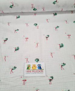 Medvilninis double gauze muslinas Salotiniai Flamingai