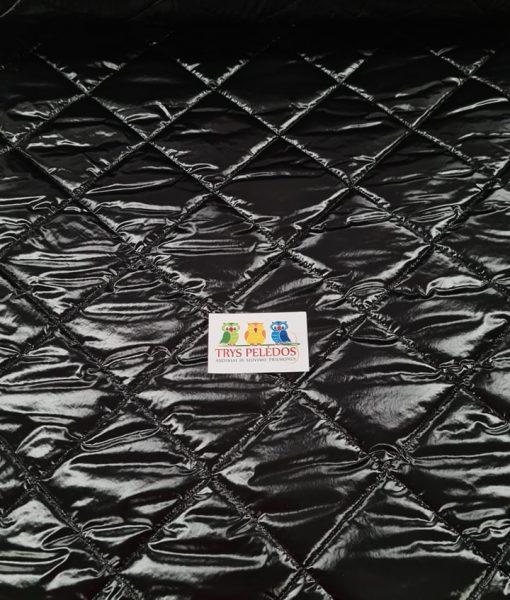 Dygsniuotas rombais vienpusis striukinis audinys Black latex