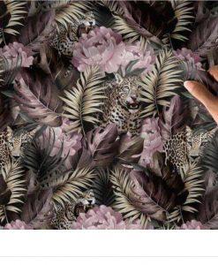 Kilpinis, skaitmeninės spaudos trikotažas Geopardai gėlėse