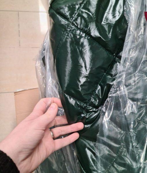 Dygsniuotas rombais vienpusis striukinis audinys Forest green latex