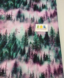 Kilpinis, skaitmeninės spaudos trikotažas Miškas su rožiniu dangum
